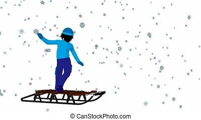 Boy On A Sled - Boy in the snow on a sled on a white...