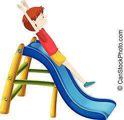 boy on a slide