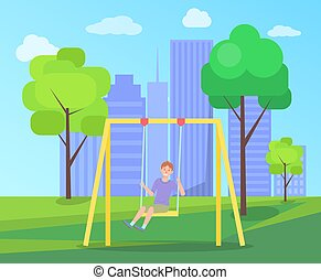 Boy on a swing against the city landscape. Happy cartoon kid playing in playground on the backyard
