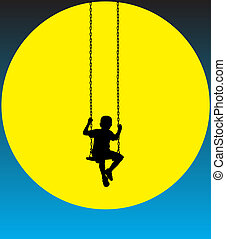 boy on a swing at moon