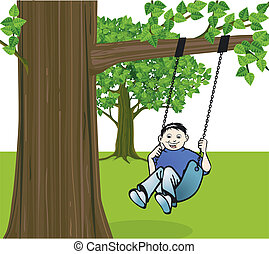 Boy on a swing