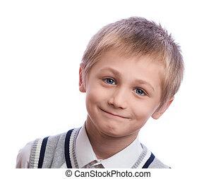 Boy on a white background