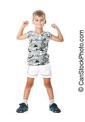 Boy on a white background.