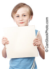 Boy on a white background with blank boad
