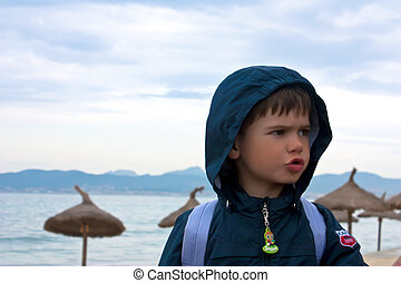boy on beach.  Majorca
