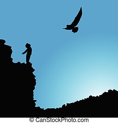 boy on cliff with bird silhouette illustration