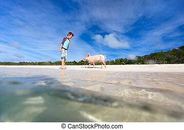 Boy on Exuma vacation