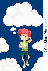 Boy on fluffy clouds background