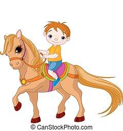 Boy on horse - Cute little Boy riding on a horse