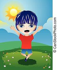 Boy on Lawn