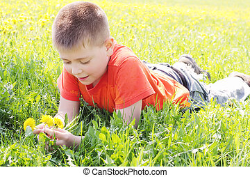 Boy on meadow grass