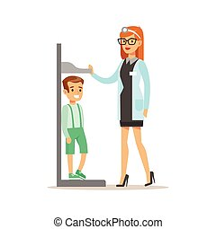 Boy On Medical Check-Up With Female Pediatrician Doctor Doing Physical Examination Measuring His Heights For The Pre-School Health Inspection. Young Child On Medical Appointment Checking General Physical Condition Illustration.
