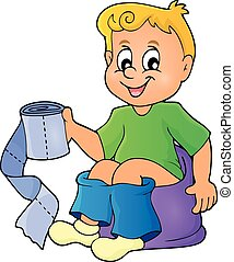 Boy on potty theme image 1