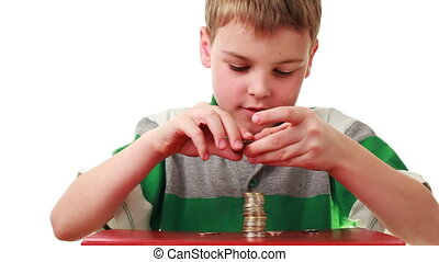 boy on red base puts coins in higher column, white...