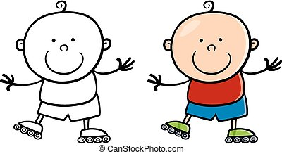 boy on rollerblades cartoon illustration - Cartoon...