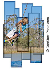boy on rope collage - collage style image of a young boy on...