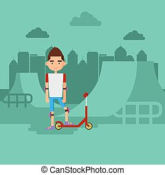 Boy on scooter in a park.