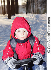 Boy on sledge in forest