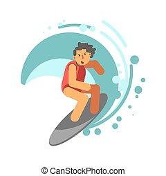 Boy on surfing board under wave vector illustration