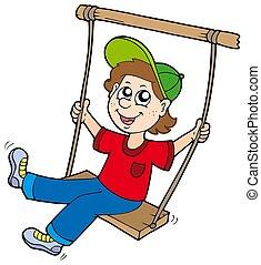 Boy on swing - isolated illustration.