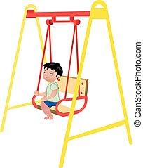 Boy on swing on white background