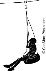 Boy on swing. rope park