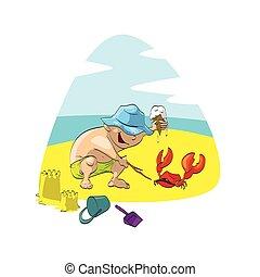 Boy on the beach, playing