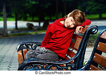boy on the bench