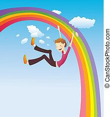 Boy on the rainbow