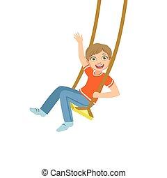 Boy On The Rope Swings Waving
