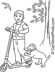 Boy on the scooter. Coloring page