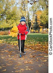 boy on the scooter in the park in autumn with yellow leaves