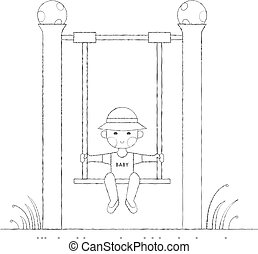 Boy on the swing outline