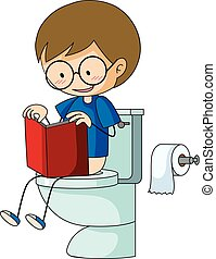 Boy on the toilet reading book