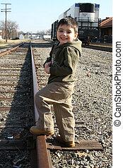 Boy on Train Track
