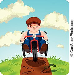 Boy on trike - Vector illustration of a little boy riding...