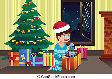 Boy opening a present under the Christmas tree
