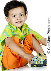 boy over white background