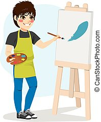 Boy Painting Canvas