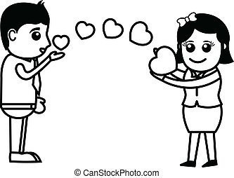 Boy Passing Flying Kiss to Girl - Flying Kisses & Hearts - ...