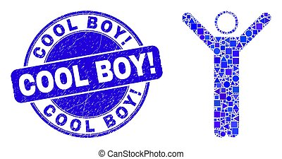 boy!, personne, mosaïque, frais, timbre, bleu, haut, cachet, grunge, mains