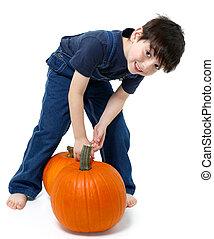 Boy Picking Pumpkins