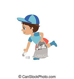 Boy Picking Up Trash Simple Design Illustration In Cute Fun...