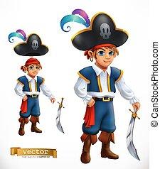 Boy pirate. 3d vector icon