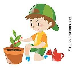 Boy planting tree in clay pot illustration