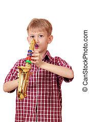 boy play saxophone on white background