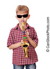 boy play saxophone on white