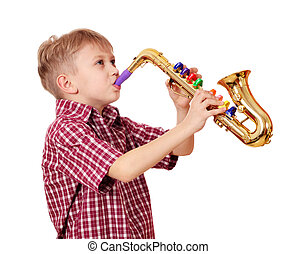 boy play saxophone