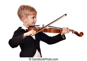 boy play violin
