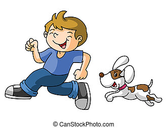 Boy play with the dog